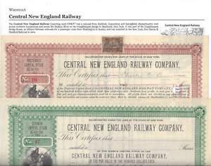 2 Stks Central New England RY #16 1899 in Red  #47 189- in Green Indian vignette