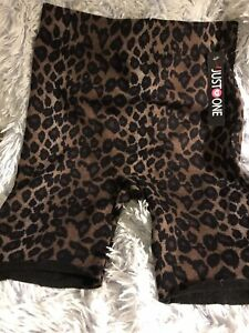 JUST ONE ANIMAL PRINT LEOPARD STRETCHY EXERCISE SHORTS UNDER GARMENT NWT 1X 2X