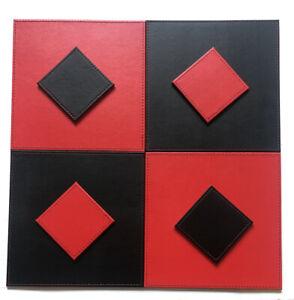 Reversible FAUX LEATHER Placemats & Coasters Set FLIP Mats SQUARE RED BLACK
