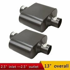 "Pair Single Chamber 2.5"" Center Inlet / Outlet Performance Race Mufflers"