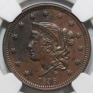 1838 N-11 NGC AU 58 Matron or Coronet Head Large Cent Coin 1c Ex; Jules Reiver