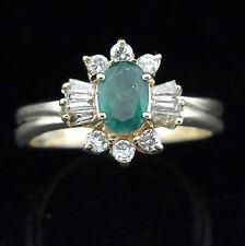 Vintage Emerald Diamonds 14k Yellow Gold Ring Baguette Estate Mid Century