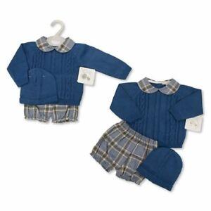 My Little Chick Baby Boys Knitted 3pc Top Pants Hat Set - Tartan Blue BNWT