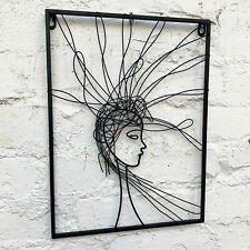 Wire Metal Sculpture Minimalist Hairy Woman Female Decorative Wall Abstract Art