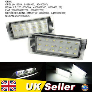 2x LED Licence Number Plate Light For Renault Clio Laguna Megane Twingo Master