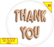 70 Thank You Rose Gold Labels Stickers Gift sweet Cone Bags NON PERSONALISED