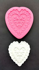 SILICONE MOULD EMBOSSED HEART CAKE DECORATING MODELLING FONDANT ICING PASTE M05