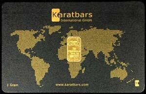 GOLD KARATBARS 1 GRAM 999.9 FINE BAR SEALED IN ASSAY CREDIT CARD LBMA ACCREDITED