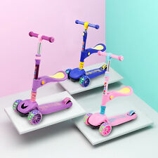 Kick Scooter Deluxe 3-Wheel Folding Adjustable With LED Light For Kids Toddler