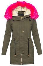Designer winter damen jacke mantel teddyfell gefüttert fell kapuze parka D-205
