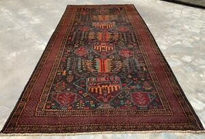 Authentic Hand Knotted Afghan Balouch Wool Area Rug 9 x 5 Ft (709HMN)