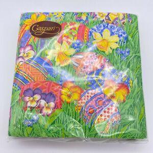 Vintage Caspari Easter napkins sealed daffodils eggs pansies NOS