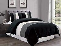 Black White Grey Pin Tuck Stripe Regatta Down Alt FULL Size Comforter Set