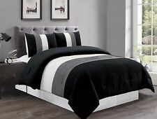 Black/White/Gray Pin Tuck Stripe Regatta Down Alt King Size Comforter Set