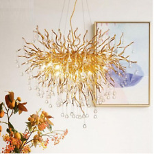 Luxury Clear Crystal Chandelier Round Branch Forest Gold Living Room Light