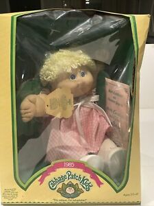 Vtg Cabbage Patch Kids doll 1985, Blonde Hair Blue Eyes, Dimples In Original Box
