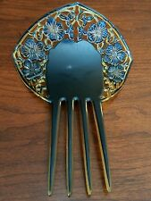 Antique Large Curved Spanish Mantilla Hair Comb Black Yellow Celluloid