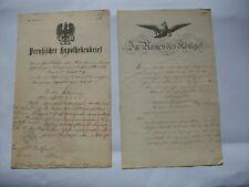 2 Dokumente Suhl 1863 Papiersiegel im Namen des Königs, Preußisches Amtsgericht