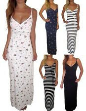 Uk Womens Summer Boho Beach Long Maxi Dress White Floral Size 8 10 12 14 16 18