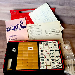 Vintage Mah Jongg Game Bamboo Wood Tiles Set