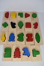 Guidecraft Shape and Color Sorter Wooden Manipulative Toy Puzzle Bag 38 Pieces