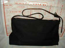 COACH BLACK NYLON FABRIC & LEATHER SHOULDER BAG PURSE #7406 AUTH SUPER SALE