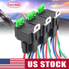3-Pack Fuse Relay Switch Harness Set SPST 12V 30A 4Pin 16 AWG Hot Wires US