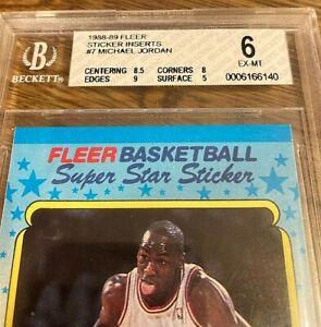 1988-89 FLEER MICHAEL JORDAN STICKER CARD #7 *GRADED BGS 6* EX-MT*