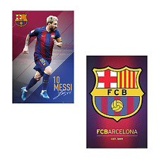 LIONEL MESSI ACTION POSTER & FC BARCELONA TEAM CREST 24 x 36 (1 OF EACH POSTER!)
