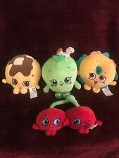 LOT OF 4 SHOPKINS CHERRY, BAGEL, PAMELA PANCAKE & GREEN APPLE PLUSH DOLLS DOLL