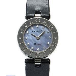 BVLGARI B-Zero1 BZ22S 12P Diamond Quartz Blue Shell Dial Ladies Watch 90120146