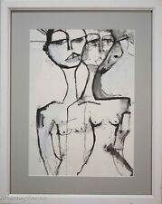 Modern Nude Female Portrait Painting Black & White, Framed & Fine!