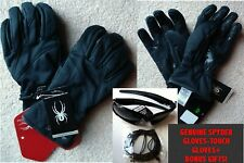 NWT MENS BLACK FACER WINDSTOP SPYDER GLOVES W/TOUCH SCREEN FINGERS +BONUSES-SZ=L