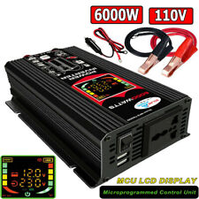 6000W Car Power Inverter DC 12V to AC 110V /220V Car Sine Wave Converter 2 USB