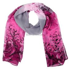 Pink Rose Flower Floral Long Wrap Chiffon Scarf Shawl Gifts for Womens Ladies