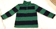 Faded Glory Boys Fleece Pullover Green & Navy Blue Stripe Partial Zip-Up (Sz 7)
