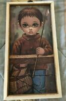 "Vintage retro Big Eye Boy print Kitsch 1960's 70's Fishing framed 10 1/2"" X 19"