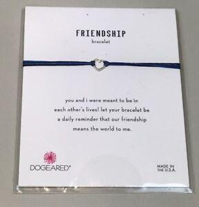 NWT DOGEARED Friendship Bracelet Small Open Heart Sterling Silver BLUE