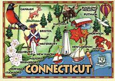Connecticut Map Hartford Mystic Bristol Lighthouse Covered Bridge etc - Postcard