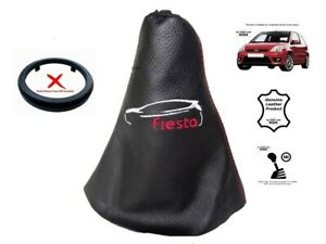"""Cuffia Leva Cambio Per Ford Fiesta 2002-2008 Pelle """"Fiesta"""" Bianco Rosso Logo"""