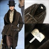 RARE Hermes Ladies Brown Sheared MINK FUR Long Leather Winter Coat Size S FR36