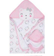 Gerber Baby Girls Organic 4 Piece Terry Bath Set Hooded Towel, Washcloths New