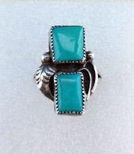 Ring Fingerring 53 mm  Indianerschmuck Sterling Silber  Zwei Türkise Feder