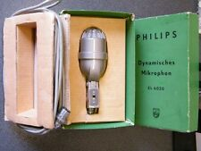 old Philips EL6020 Dynamic microphone w/ Case & Cable