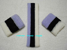 3 three TONE STRIPE red white blue Sports Band HeadBand WristBand Sweatband set