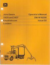 John Deere 3805 & 3807Knuckleboom Loader Operator's Manual