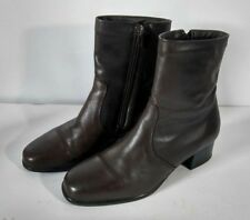 Blondo Canada Women's Brown Leather Waterproof Ankle Booties Side Zip Size 7