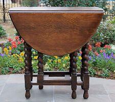 Antique English Oak Drop Leaf Gate Leg Barley Twist Sofa Lamp End Table OVAL #3