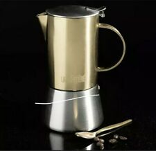 Espresso Maker La Cafetiere Edited 4 Cup Stainless Steel Stovetop Brushed Gold