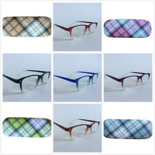 Womens Mens Rectangle Plastic Frame Reading Glasses Lightweight With Case